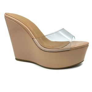Nude and clear wedge heels / wedge sandals